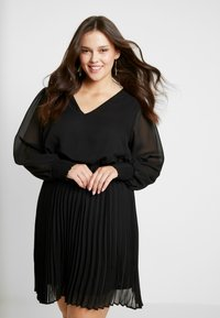 Simply Be - PLEATED SKIRT DRESS - Day dress - black - 0