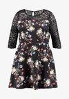 Simply Be - PRINTED TRIM PROM DRESS - Cocktailkleid/festliches Kleid - black