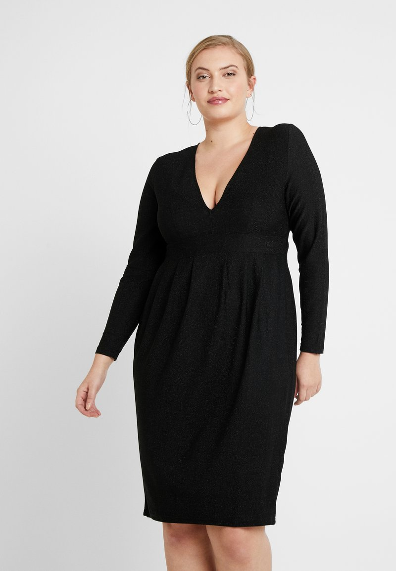 Simply Be - GLITTER MIDI - Shift dress - black