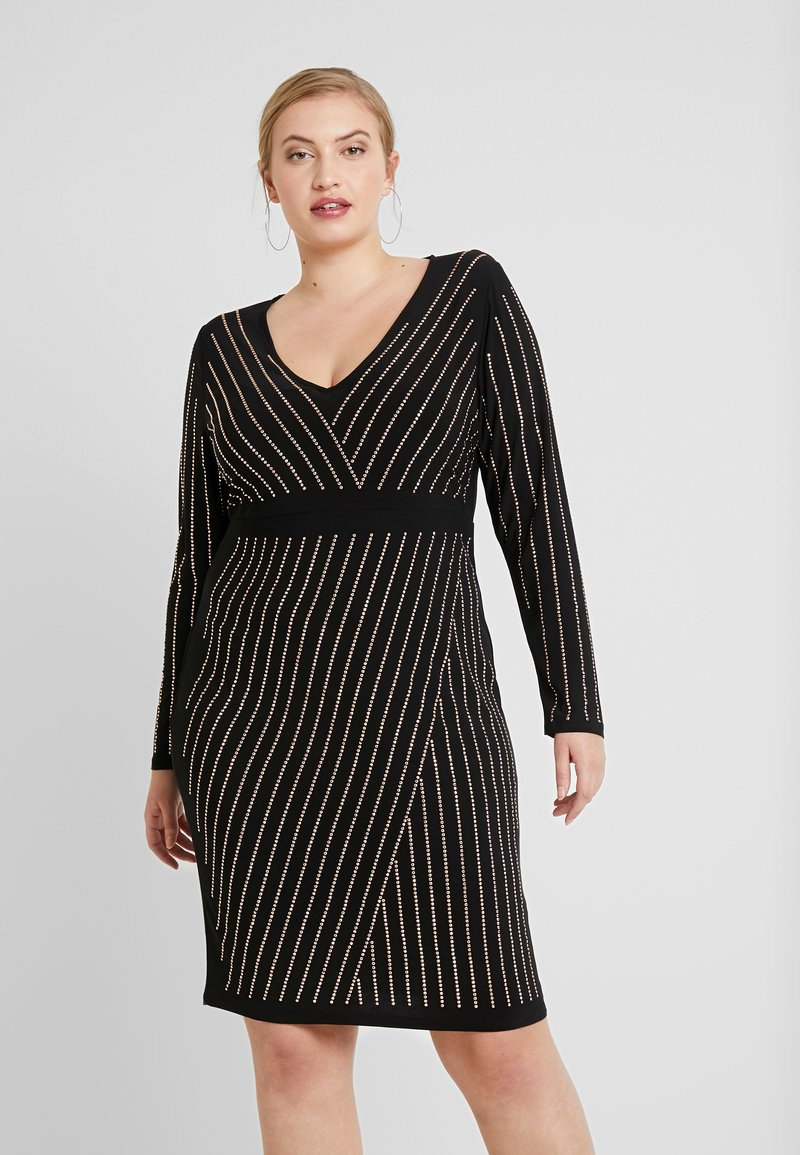 Simply Be - BODYCON STRIPE HOTFIX DRESS - Etuikjoler - rose gold