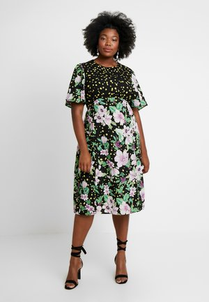 MIXED MIDI DRESS - Day dress - black