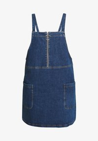 Simply Be - ZIP FRONT PINAFORE DRESS - Denim dress - stonewash - 4