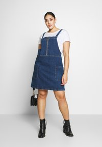 Simply Be - ZIP FRONT PINAFORE DRESS - Denim dress - stonewash - 1