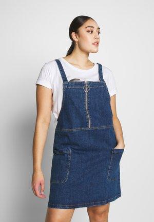 ZIP FRONT PINAFORE DRESS - Denimové šaty - stonewash
