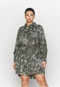 Simply Be - SHIRT DRESS - Skjortekjole - khaki/ivory - 0