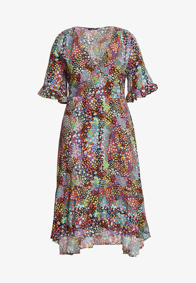 BUTTON THROUGH WRAP MIDI DRESS - Sukienka letnia - multicoloured