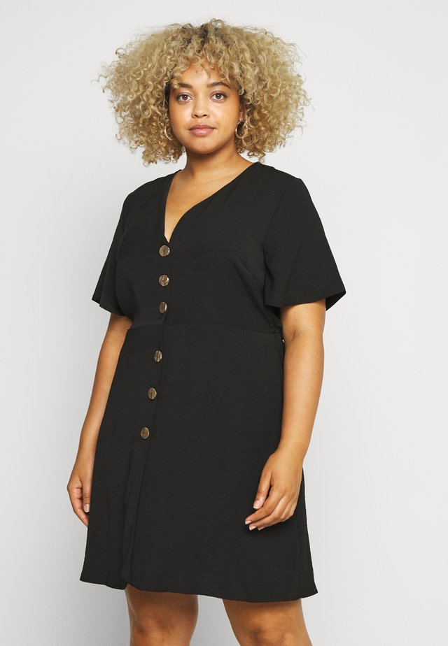 HERRINGBONE DRESS - Skjortklänning - black