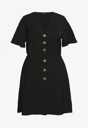 HERRINGBONE DRESS - Skjortekjole - black