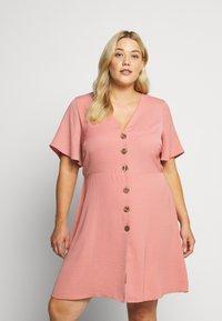 Simply Be - HERRINGBONE DRESS - Košilové šaty - dusky pink - 2