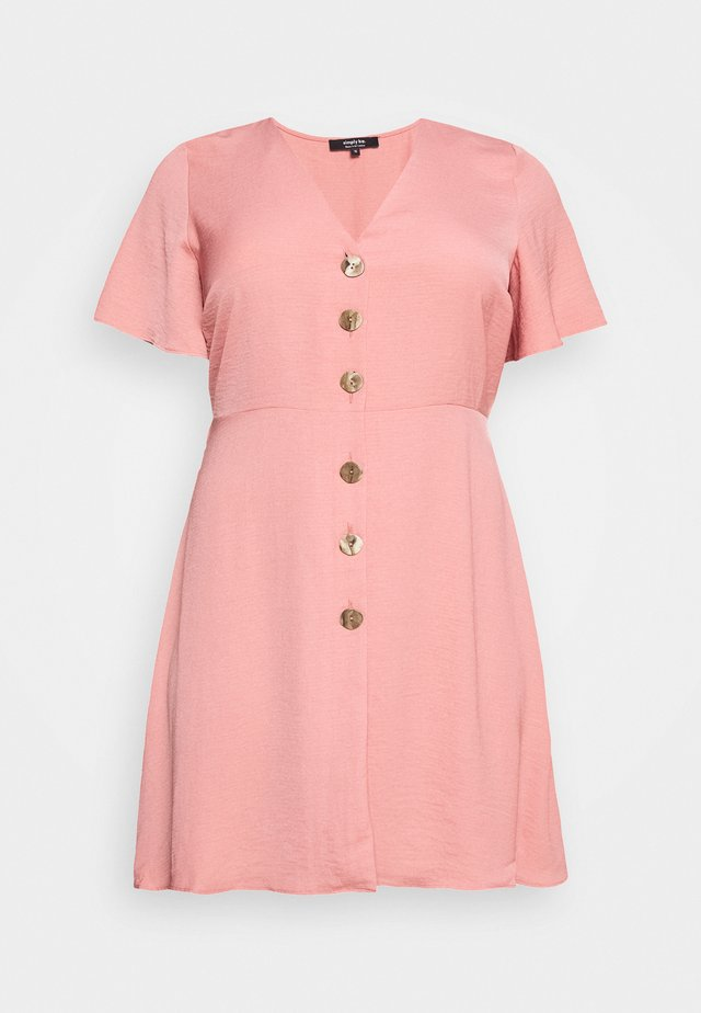 HERRINGBONE DRESS - Skjortekjole - dusky pink