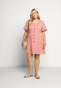 Simply Be - HERRINGBONE DRESS - Košilové šaty - dusky pink - 1
