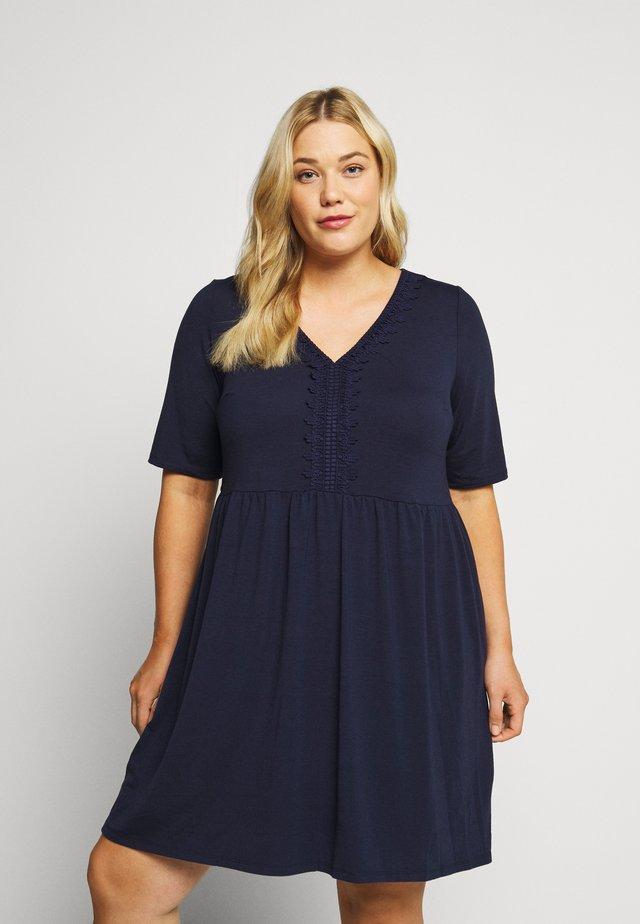 TRIM SWING DRESS - Jerseyjurk - navy