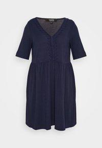 Simply Be - TRIM SWING DRESS - Robe en jersey - navy - 4