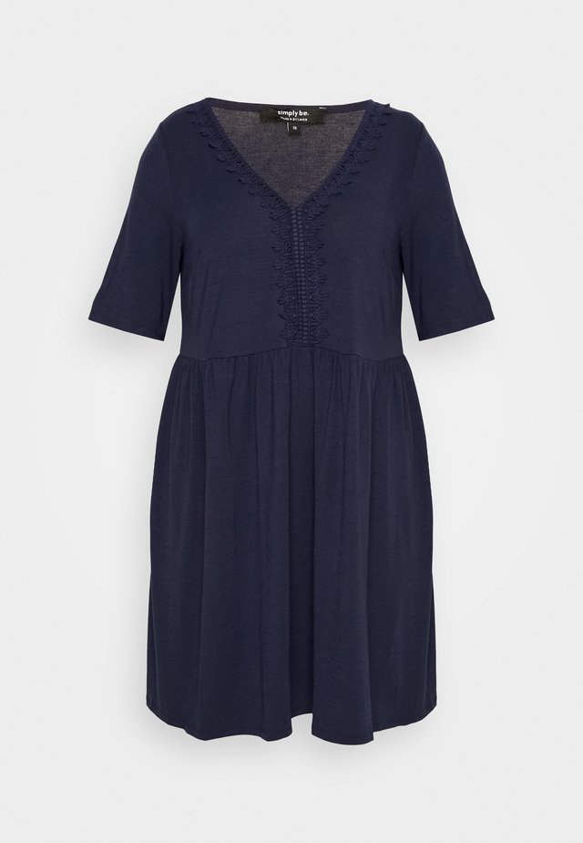 TRIM SWING DRESS - Hverdagskjoler - navy