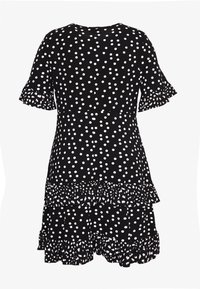 Simply Be - SPOT RUFFLE MIDI DRESS - Žerzejové šaty - black - 1