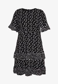 Simply Be - SPOT RUFFLE MIDI DRESS - Žerzejové šaty - black - 0