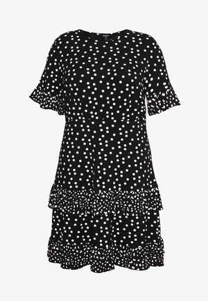 SPOT RUFFLE MIDI DRESS - Jerseykjole - black