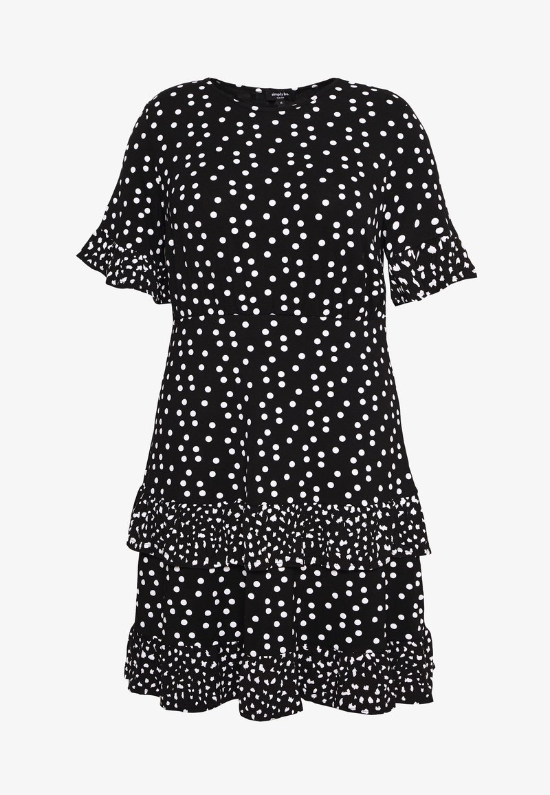 Simply Be - SPOT RUFFLE MIDI DRESS - Žerzejové šaty - black