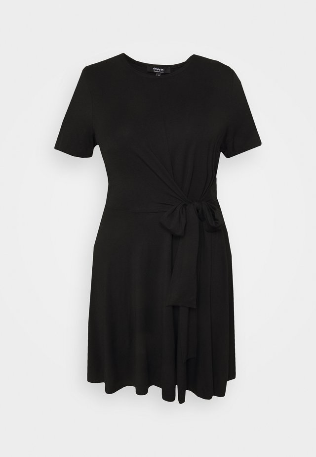 TIE WAIST DRESS - Korte jurk - black