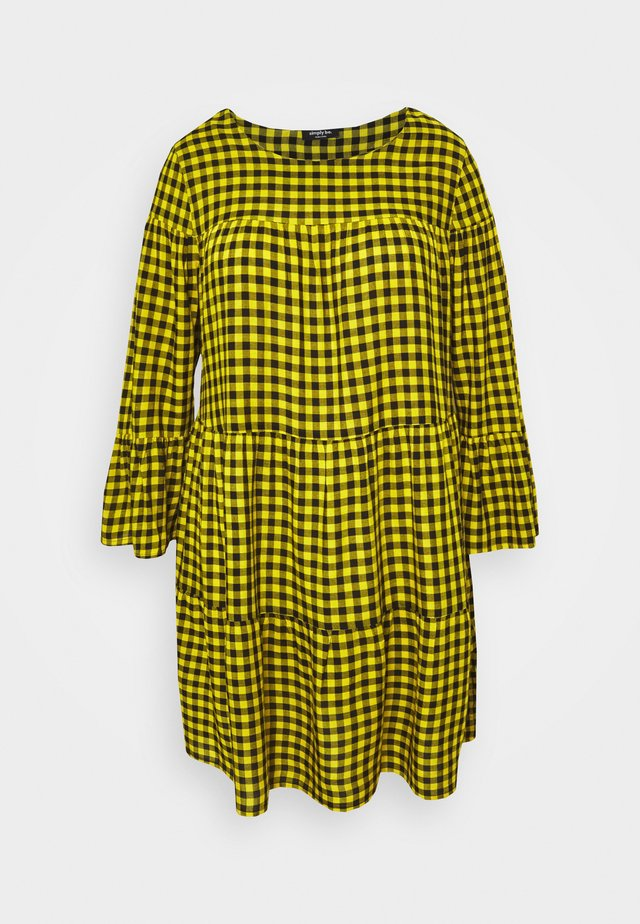 CHECK TIERED SMOCK DRESS - Korte jurk - yellow chck