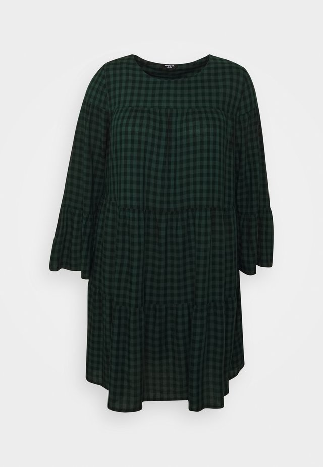 CHECK TIERED SMOCK DRESS - Korte jurk - green