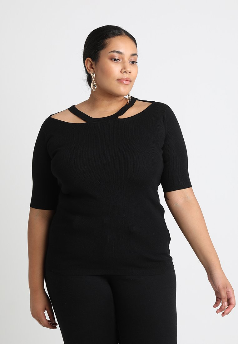 Simply Be - CUT OUT NECK JUMPER - T-shirts print - black