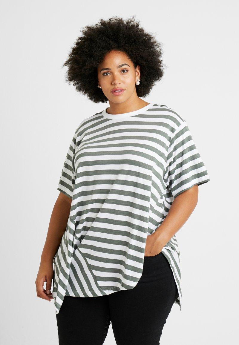 Simply Be - SIMPLY BE ASYMMETRIC - Print T-shirt - grey/white