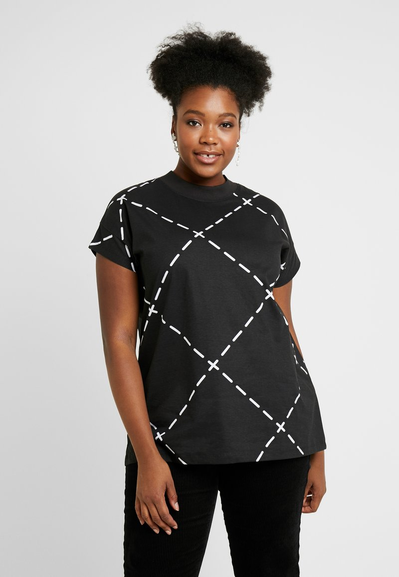 Simply Be - HIGH NECK VALUE - T-shirts med print - black/ white