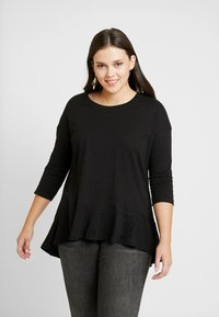Simply Be - FRILL HEM 3/4 SLEEVE - T-shirts med print - black - 0