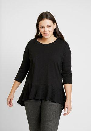 FRILL HEM 3/4 SLEEVE - Camiseta estampada - black