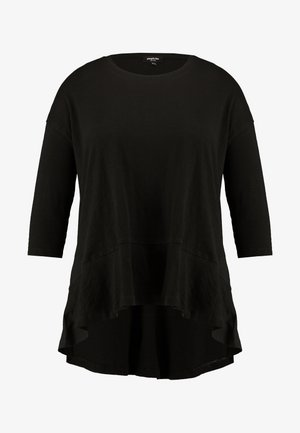 FRILL HEM 3/4 SLEEVE - Camiseta estampada - black