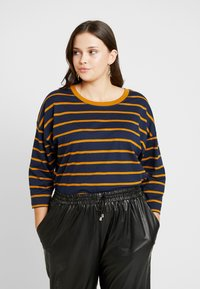 Simply Be - SIMPLY BE CROP BOXY - Topper langermet - mustard/navy - 0