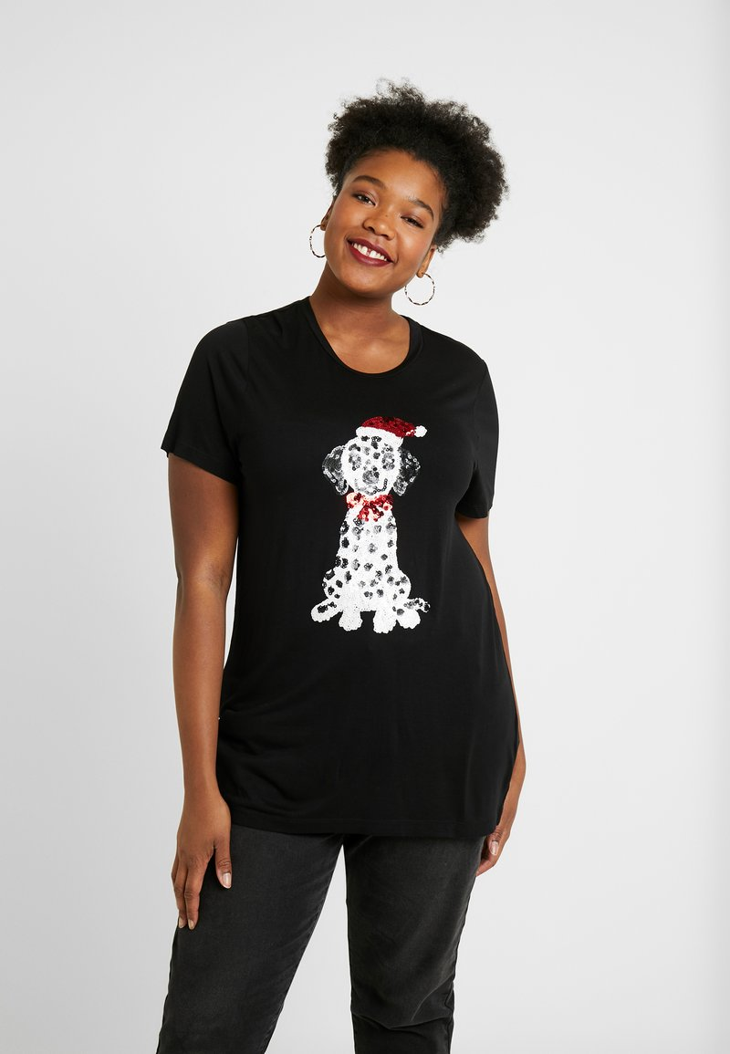 Simply Be - NOVERLTY SEQUIN DALMATION - Print T-shirt - black