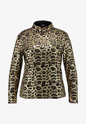 HIGH NECK EMBOSSED LEOPARD - Pusero - black/gold
