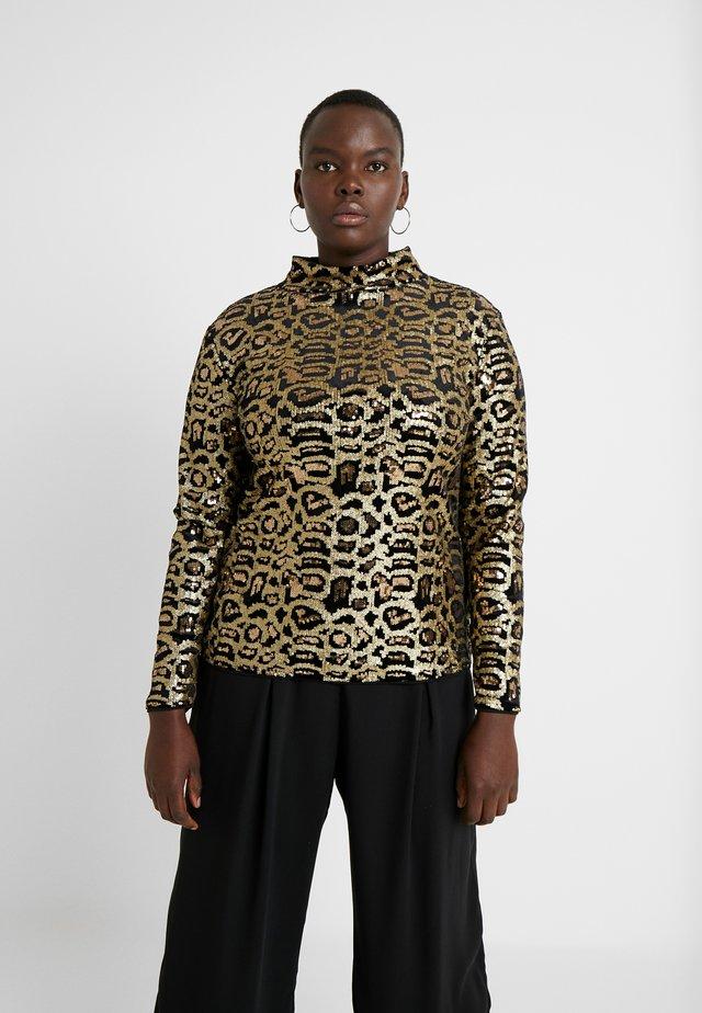 HIGH NECK EMBOSSED LEOPARD - Bluse - black/gold