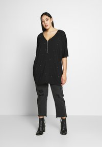 Simply Be - ZIP FRONT DIAMANTE  - Tunique - black - 1