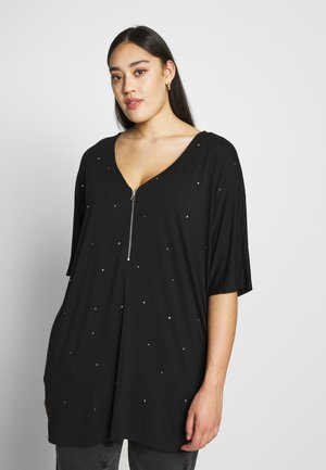 ZIP FRONT DIAMANTE  - Tunica - black