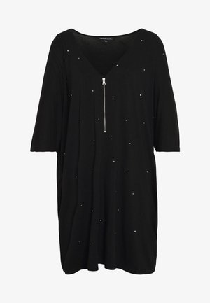ZIP FRONT DIAMANTE  - Tunic - black
