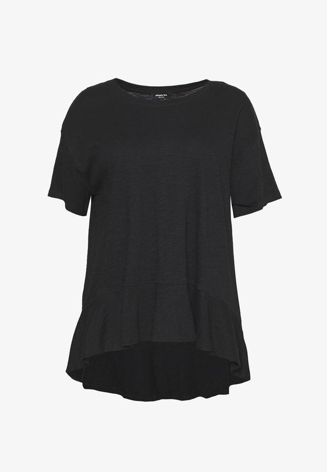 VALUE FRILL HEM - T-shirts basic - black