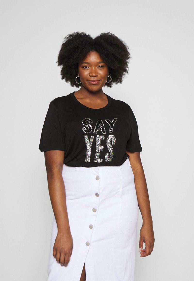 Simply Be - SEQUIN - T-shirts med print - black