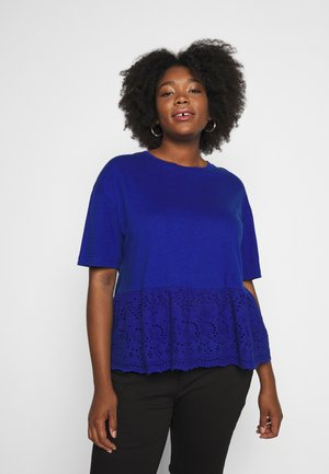 PEPLUM HEM - T-shirts med print - blue