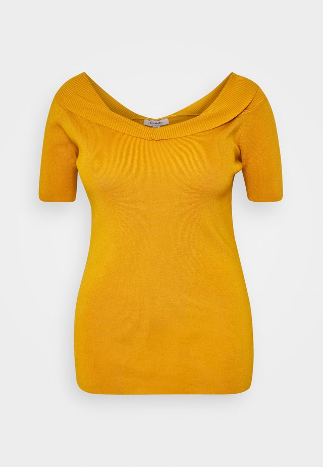 SWEETHEART BARDOT WITH SHORT SLEEVES - T-shirts print - saffron