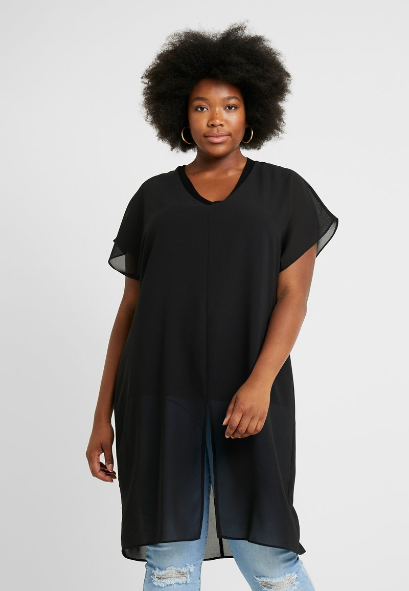 Simply Be - LONGLINE SHEER OVERLAY BLOUSE - Bluse - black