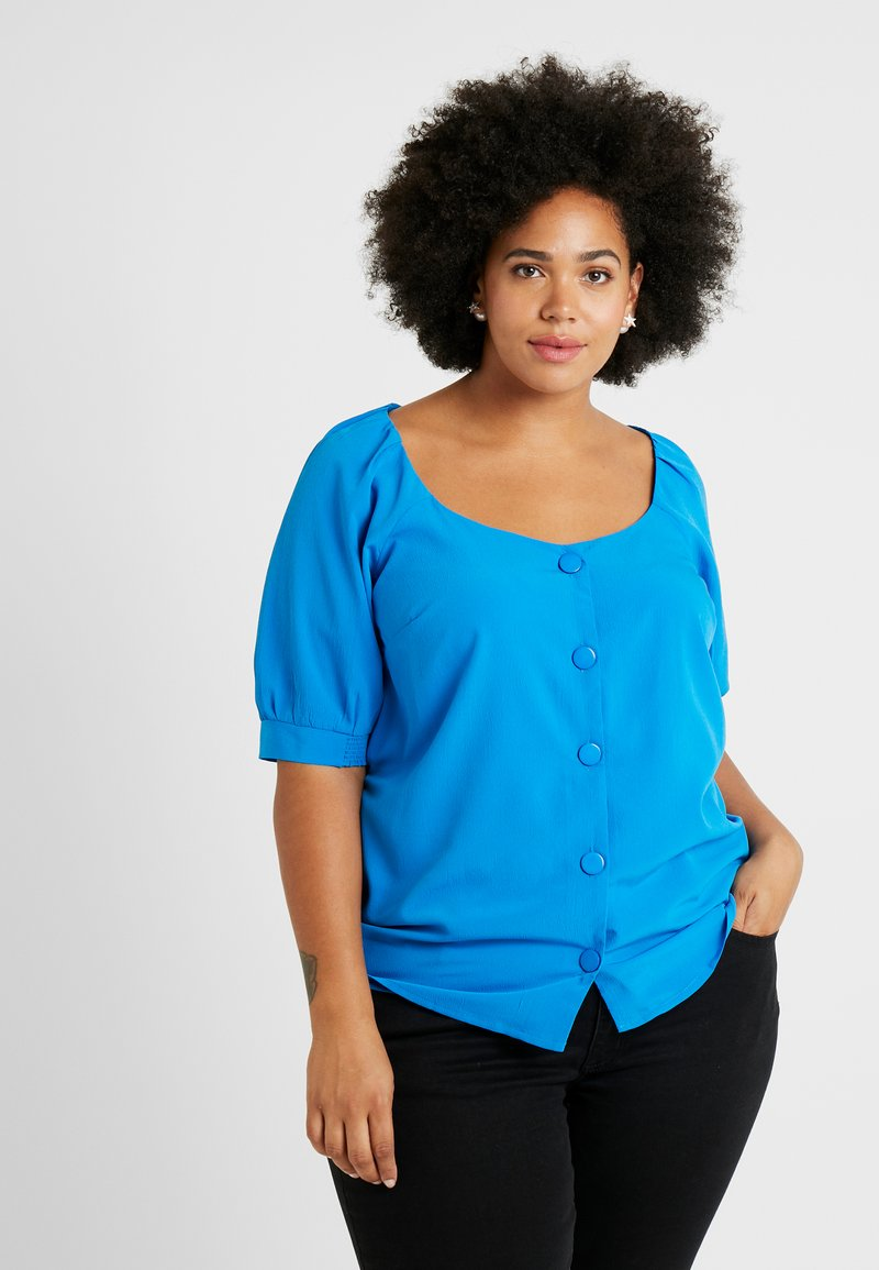 Simply Be - GATHERED TEA BLOUSE - Bluser - blue