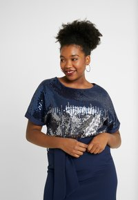 Simply Be - SEQUIN BOXY - Blouse - navy ombre - 0