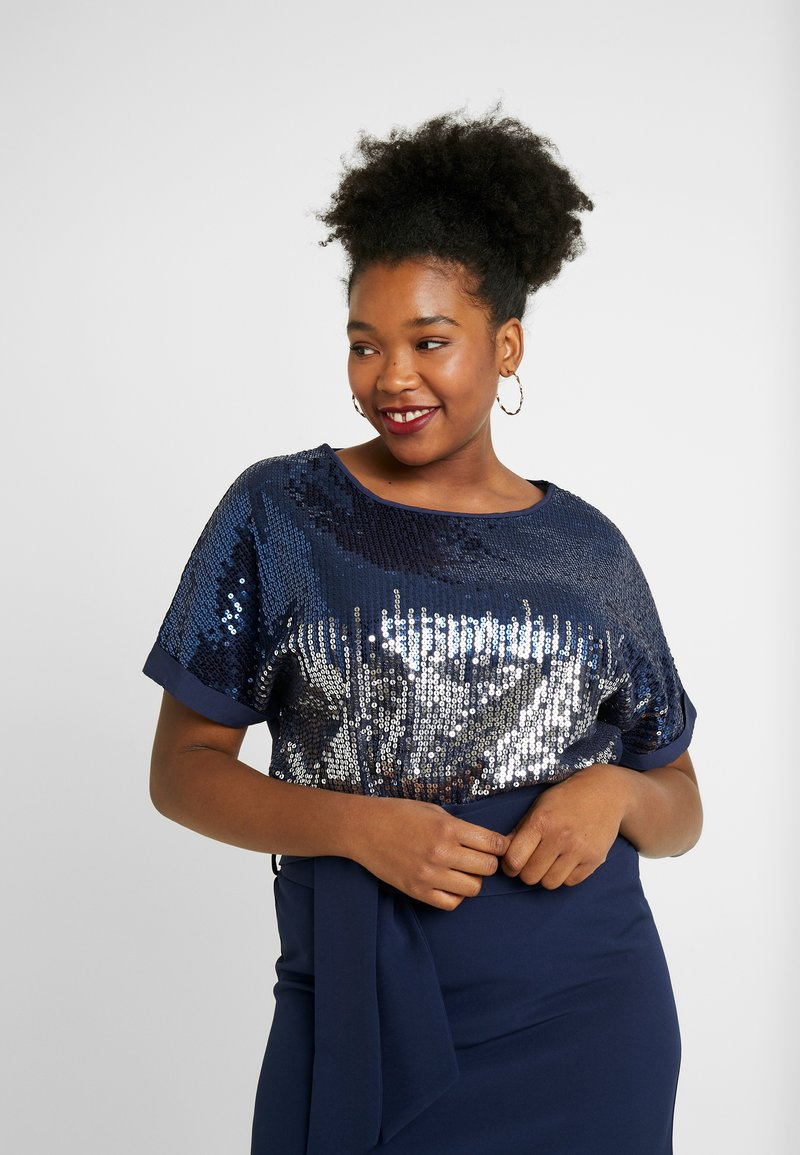 Simply Be - SEQUIN BOXY - Blouse - navy ombre