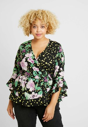 MIXED PRINT WRAP - Blouse - black