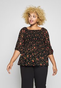 Simply Be - SHIRRED BLOUSE - Blouse - black - 0