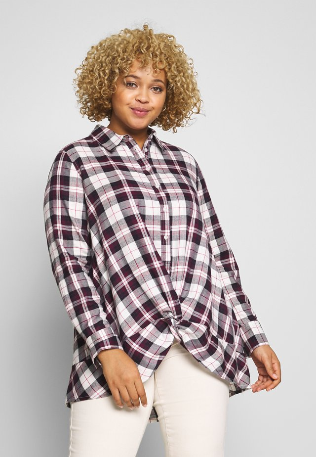 TWIST FRONT CHECK - Blouse - ivory/maroon