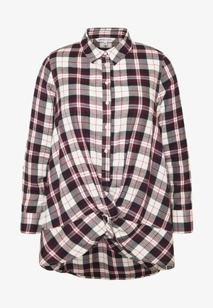 TWIST FRONT CHECK - Bluser - ivory/maroon